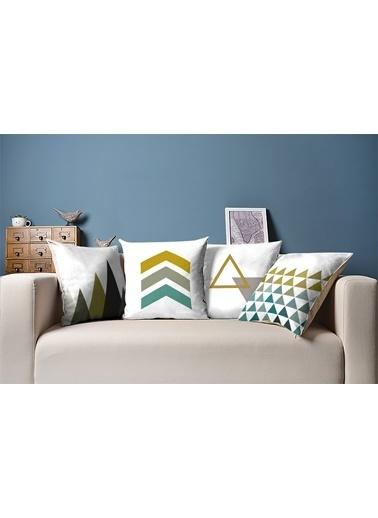 Tezkotekstil Modern Üçgen 4'Lü Kombin Dekoratif Yastık Kırlent Kılıfı Renkli